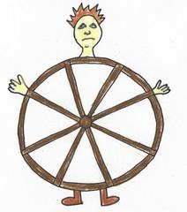 Redewendungen als Bilder #5 - Redewendung, Rad, gerädert, geschafft, nervös, Stress