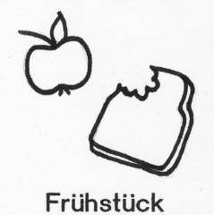 Piktogramm Frühstück - Piktogramm_Stundenplan, Pause, Frühstück, Brot, Apfel, essen, Brotzeit