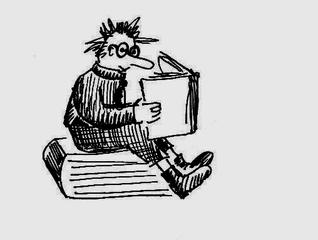 Bücherwurm - Buch, Bücher, sitzend, lesen, Leseförderung, Lesepass, Illustration