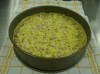 Schinken Käse Tarte #2 - Schinken Käse Tarte, Backform, Teig, Mürbteig, salzig, Schinken, Käse, Zwiebel, Petersilie