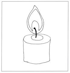 Kerze 01- ohne Beschriftungslinien - Kerze, Flamme, Feuer, Wachs, Weihnachten, Advent, brennen, Licht, heiß, hell, leuchten, Lichtquelle, warm, tropfen, hell, Docht, Flammenmantel, Flammenkern, Anlaut K, Sachunterricht, Illustration