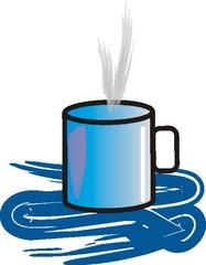 Tasse - Tasse, heiß, blau, Getränk, Trinkgefäß, Heißgetränk, Trinkbecher, Becher, Kaffeebecher, Henkel, Flüssigkeitsmaß, Zylinder, Volumen, Wörter mit Doppelkonsonanten