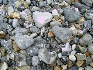 Herzsteine - Stein, Herz, Strand, Grautöne, grau, Struktur, Farbe, Feuerstein, Silex, Kiesel, Oberfläche