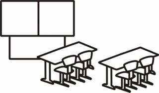 Klassenzimmer - Klassenzimmer, Klassenraum, Zimmer, Klasse, Tafel, Stuhl, Stühle, Bank, Tisch, Bänke, Tische, Anlaut K