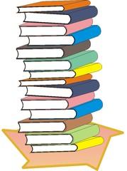 Bücherstapel - Bücherstapel, Bücher, Buch, Buchdarstellung, stapeln, lesen, Bücherei, Bibliothek, vierzehn, Einband, Bucheinband, bunt, Stapel, Schule