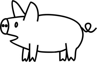 Schwein - Schwein, Glücksschwein, Schweinchen, Ferkel, Bauernhof, Hoftier, Anlaut Sch, Glück, Glücksbringer, Silvester, Neujahr, Nutztier, Allesfresser, Kringelschwanz
