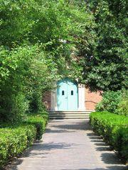 Tür - Tür, Tor, Bogen, Bauwerk, Eingang, Portal, Meditation, Weg, reformierte Kirche, Backstein, Klinker, grün