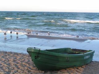 Boot am Ostseestrand - Meer, Ostsee, Wellen, Möwen, Boot, Strand, Sand, Sandstrand, Ruderboot, Meditation