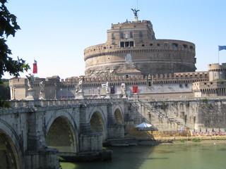 Rom - Engelsburg - Italien, Rom, Sehenswürdigkeiten, Wahrzeichen, Engelsbrücke, Geschichte, Römer, Grabmonument, Mausoleum, Hadrian, Brücke