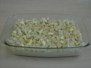 Ofenschlupfer #4 - Auflauf, süß, Ofenschlupfer, Toastbrotscheiben, Äpfel, Brösel, Sahne, Eier, Butterflöckchen