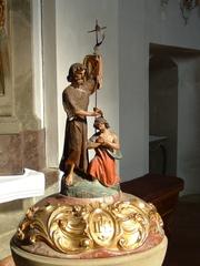 Taufbecken - Johannes, Täufer, Taufbecken, Kirche, Verzierung, Barock, Kugelhaube, Plastik, Statue, Kreuz