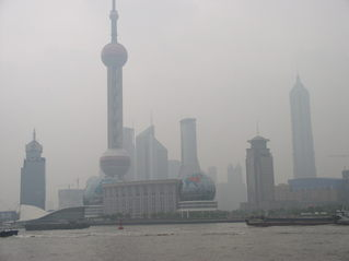 China - Shanghai - China, Shanghai, Großstadt, Architektur, Wolkenkratzer, Bauwerke, Fernsehturm, Jinmao Tower, Huangpu River, Smog