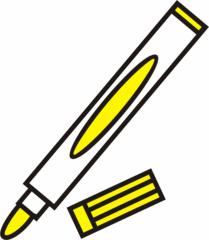 Filzstift gelb - Filzstift, Filzstifte, Einzahl, Filzer, Stift, malen, ausmalen, zeichnen, gelb, schreiben, Anlaut St