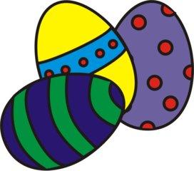 bunte Ostereier - Ei, Eier, Osterei, Mehrzahl, Streifen, Muster, Ostern, drei, Menge, bunt, farbig, Anlaut Ei, Anlaut O