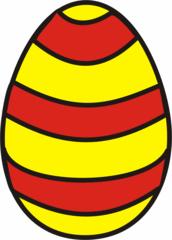 buntes Osterei 3 - Ei, Eier, Osterei, eins, Einzahl, Streifen, Muster, gelb, rot, Ostern, Anlaut Ei, Anlaut O