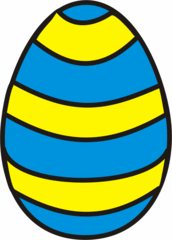 buntes Osterei 4 - Ei, Eier, Osterei, Streifen, Muster, Ostern, gelb, blau, Anlaut Ei, Anlaut O