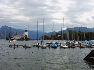Gmunden Österreich - Seeschloss, Traunsee, Gmunden, Österreich, Boote, Hafen