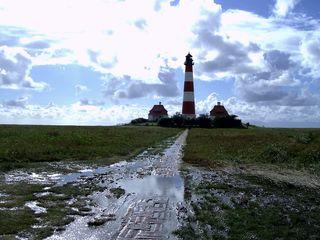 Westerhever Leuchtturm - Leuchtturm, Westerhever Leuchtturm, Nordsee, Marschland, Watt, Salzwiesen, Schreibanlass