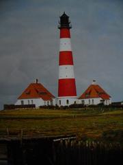 Leuchtturm - Leuchtturm, Westerhever, rot, weiß, Nordsee, Eiderstedt, Warft, Nationalpark, Salzwiesen, Schleswig-Holsteinisches Wattenmeer