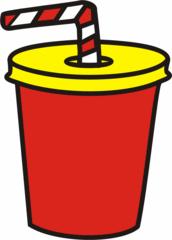 Becher - Becher, Pappbecher, Strohhalm, Trinkhalm, gestreift, trinken, Getränk, Anlaut B