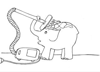 Elefant 1 - Elefant, Staubsauger, putzen, reinigen, Illustration, schwer