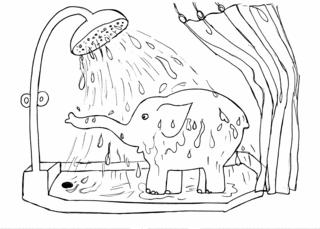 Elefant 2 - Elefant, Dusche, duschen, waschen, reinigen, Wasser, brausen, Brause, nass