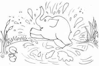 Elefant 3 - Elefant, plantschen, baden, schwimmen, fröhlich, Spaß, Teich, spritzen, See, Wasser, Illustration, schwer