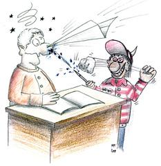 gestresster Lehrer - Lehrer, Schüler, Papierflieger, Burnout, Chaos, Klassenzimmer, Karikatur