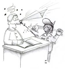 leidender Lehrer - Lehrer, Burnout, Chaos, Klassenzimmer, Karikatur