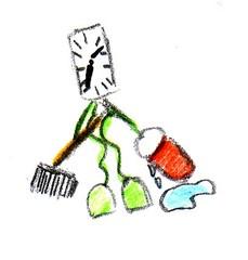 Herr Ticktack - Uhren und Tätigkeit #6 - putzen, sauber machen, Frühjahrsputz, Uhrzeit, Zeitangabe, Zeit, Uhr, putzen