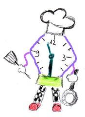 Herr Ticktack - Uhren und Tätigkeit #9 - Koch, kochen, Arbeit, Beruf, Freizeit, Uhr, Mittag essen, Uhrzeit