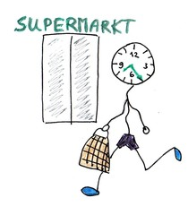Herr Ticktack - Uhrzeit und Tätigkeit 14 - Supermarkt, Uhrzeit, einkaufen, shopping