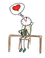 Herr Ticktack Uhren und Tätigkeit#15 - Brief, Herz, schreiben, Uhrzeit, träumen