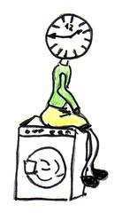 Herr Ticktack - Uhren und Tätigkeit#16 - Waschmaschine, Uhrzeit, Wäsche waschen