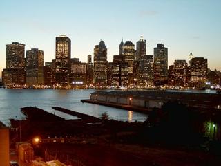 Downtown Manhattan - Erdkunde, USA, New York, Manhattan East River, Financial District, NYC, Abends, Lichter, Silhouette