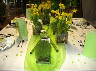 Tischdekoration *Frühling* #2 - Platzteller, Serviette, Besteck, Messer, Gabel, Fischbesteck, Dessertbesteck, Blüten, Filz, Weinglas, Tischdecke, festlich, Organza, Bambus, Glasgefäße, Osterglocken, Kresse
