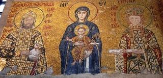 Hagia Sofia -Mosaik - Maria mit dem Kaiserpaar  - Türkei, Istanbul, Osmanisches Reich, byzantinische Baukunst, Islam, Religion, Weltreligion, Kirche, Mosaik, Geschichte, Geografie