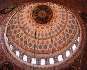 Kuppeldekor  Neue Moschee - Gebäude, Moschee, Türkei, Istanbul, Osmanisches Reich, Yeni Camii, Neue Moschee, Religion, Weltreligion, Sakralbauten, Kuppel, Dekor