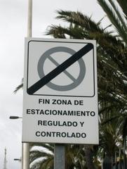 Verkehrszeichen in Spanien #2 - Verkehrszeichen, Halteverbot, Zone, Ende, Spanien, spanisch, Kontrolle, halten, Schild, Verkehrsschild