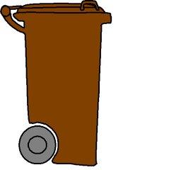 Mülltonne braun - Müll, Mülltonne, Mülltrennung, Anlaut M, Umwelt, Mistkübel, Tonne, Abfalltonne