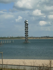 Pegelturm - an der Goitzsche - Wasser, Goitzsche, Bitterfelder Meer, Bernsteinsee, Wind, Turm, Naturschutz, Braunkohletagebau, Flutung, Rekultivierung, Kulturlandschaft, Bergbaufolgelandschaft
