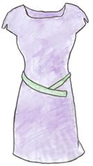 Kleid - Kleid, Sommerkleid, dress, robe, vêtements, Kleidung, clothes, Oberteil mit Rock, Kleidungsstück, einteilig, Ausschnitt, Gürtel, Halbarm, Anlaut K, Wörter mit ei