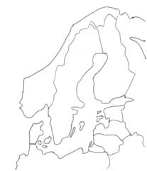 Nordeuropa - Umriss, Outline, Nordeuropa, Topographie, blanko, map