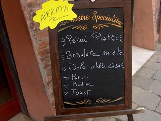 Straßenspeisekarte, Speisenangebot - Italien, Italienisch, Landeskunde, Straßenspeisekarte, menu, offerte, specialità, antipasti, insalate, primi piatti, dolci