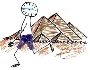 Herr Ticktack auf Reisen#3 - Reisen, verreisen, Uhrlaub, weltreise, Pyramide, Ägypten, Uhrzeit