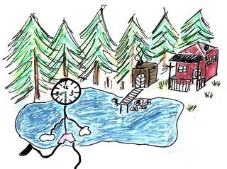 Herr Ticktack auf Reisen #1 - Uhren, Uhrzeit, reisen, Urlaub, See, Wald, Natur, Sommerhütte