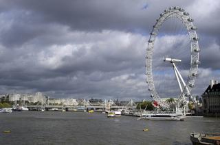 London Eye - London, London Eye, Riesenrad, Wahrzeichen, Sehenswürdigkeiten, Blick, Aussicht, Wolken
