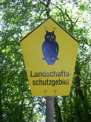 Landschaftschutzgebiet: Schild - Hinweisschild, Naturschutz, Eule, Schild, Landschaftsschutz