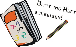 Piktogramm: Bitte ins Heft! - Heft, schreiben, Anweisung, Stift