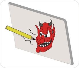 ... Sprichwort, Redewendung, Umgangssprache, Teufel, malen, Wand, bildlich